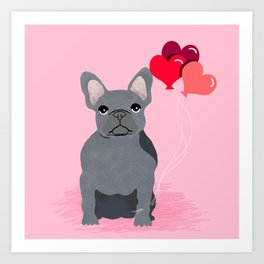 French Bulldog valentines day love balloons hearts grey frenchie must have gifts Art Print