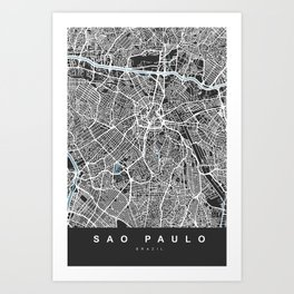 Sao Paulo City Map | Brazil | Black | More Colors, Review My Collections Art Print