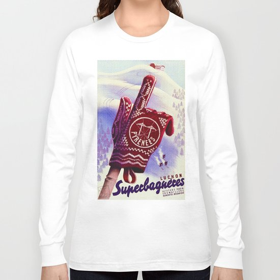 Luchon France - Vintage Ski Resort Travel Long Sleeve T-shirt