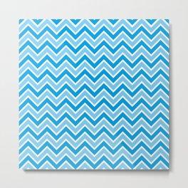 Zigzag blue tone pattern of parallel lines   #society6 #decor #buyart #artprint Metal Print