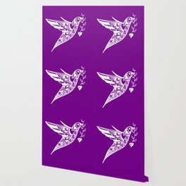 Purple and White print of a hummingbird with a love heart Wallpaper