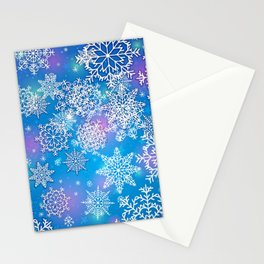 Snowflake background blue purple Stationery Cards