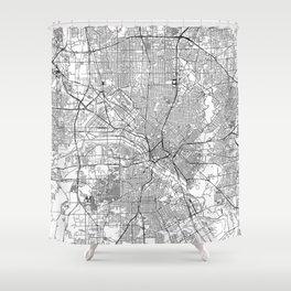 Dallas White Map Shower Curtain
