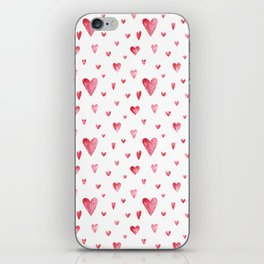 Watercolor print with hearts iPhone Skin