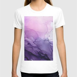 Purple Amethyst Crystal Inspired Abstract Flow Painting T-shirt