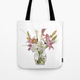 vase and flowers on white background . artwork Tote Bag
