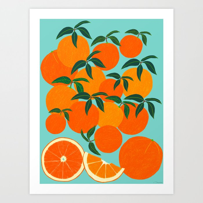 Orange Harvest - Blue Kunstdrucke
