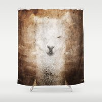 llama Shower Curtains featuring Llama by Linnea Frank