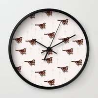 sparrow Wall Clocks featuring Sparrow by Fine Cut