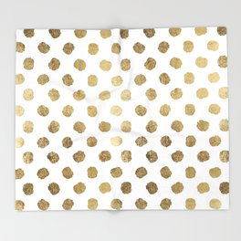 Luxurious faux gold leaf polka dots brushstrokes Throw Blanket