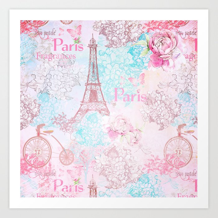 I love Paris- Vintage Shabby Chic in pink - Eiffeltower France Flowers Floral Art Print