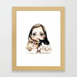 Kiko and two cats Framed Art Print