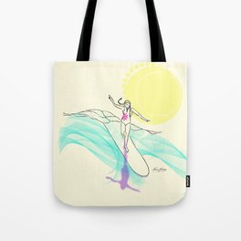 Sunsrise Wave Surfer Gal Tote Bag