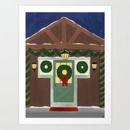 Rustic Christmas Night Art Print
