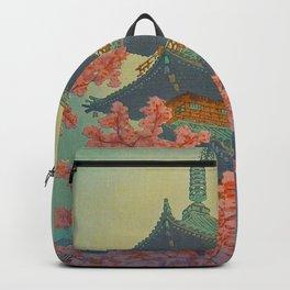 Pagoda, Ueno Park in Spring Evening Kasamatsu Shiro Japanese Woodblock Painting Asian Beautiful Ink Backpack