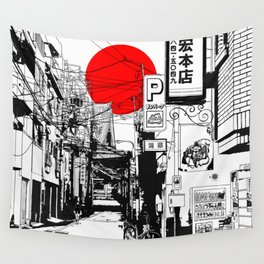 Tokyo street sunrise Wall Tapestry