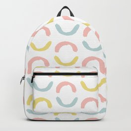 Pastel pink coral blue yellow abstract geometrical circles Backpack