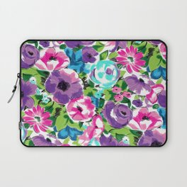 Stylized Watercolor Floral in Bright Colors Laptop Sleeve