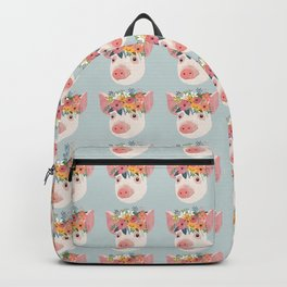 Pig with floral crown, farm animal Backpack