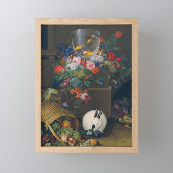 Still life with fishbowl, Johann Knapp, 1810 Framed Mini Art Print