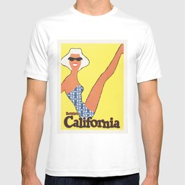 Southern CALIFORNIA Sunny Beaches Vintage American Railway Travel Poster T-shirt