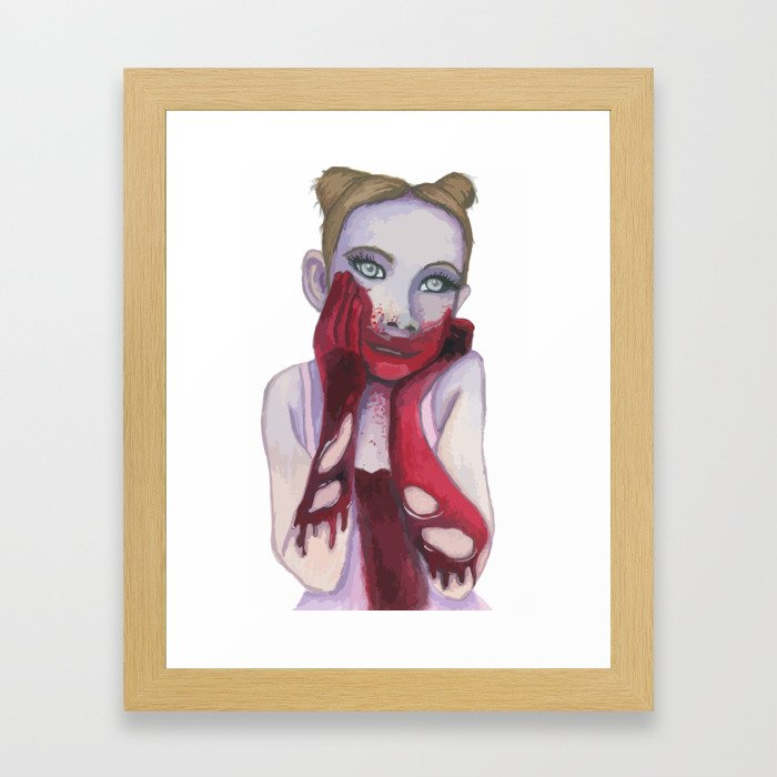 Cute Zombie Girl Framed Art Print