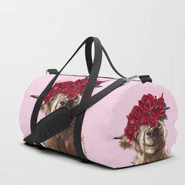 Highland Cown with Rose Crown in Pink Duffle Bag
