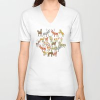 ikat V-neck T-shirts featuring deer horse ikat party by Sharon Turner