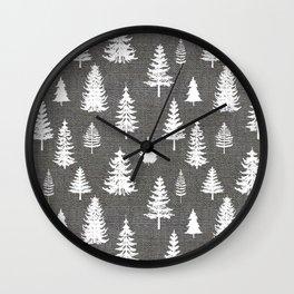 Pine Forest on Dark Linen Wall Clock