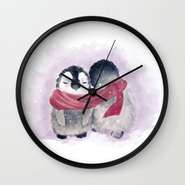 Penguin cuddle Wall Clock