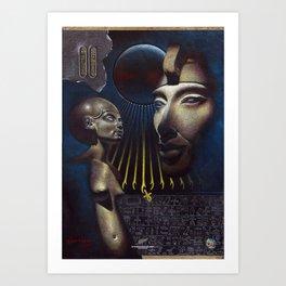 Ahkenaten, Nefertiti and the Aten. Brendon O'Farrell. Art Print