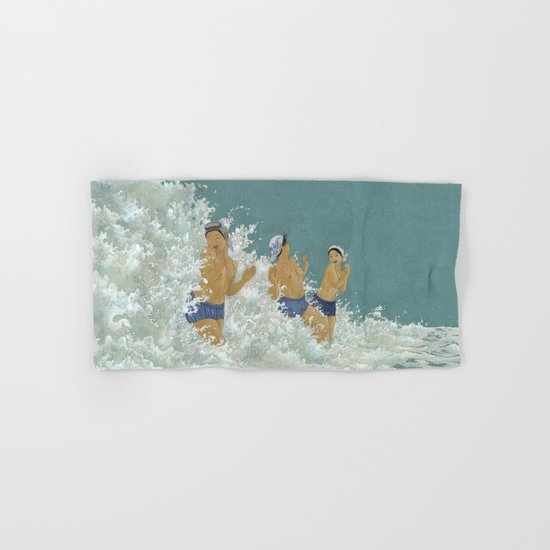 Three Ama Enveloped In A Crashing Wave Hand & Bath Towel