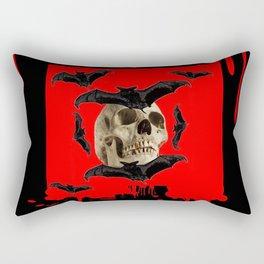 BAT INFESTED HAUNTED SKULL ON BLEEDING HALLOWEEN ART Rectangular Pillow