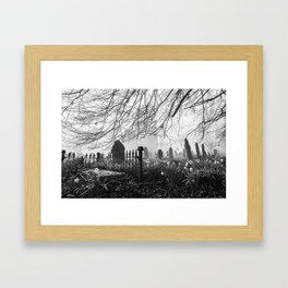 Rural church and graveyard in early morning fog. Hilborough, Norfolk, UK. Framed Art Print