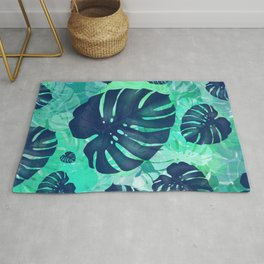 monstera leaves tropical 2 Rug