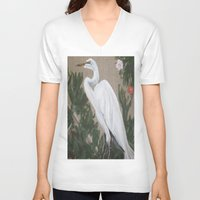 crane V-neck T-shirts featuring Crane by Lark Nouveau Studio
