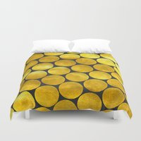 gold dots Duvet Covers featuring Gold Polka Dots by Juste Pixx Designs