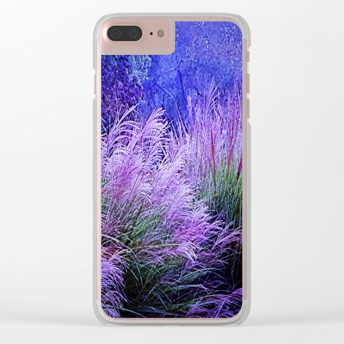 Purple long grass Clear iPhone Case