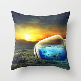 Spectacular Fantasy Ocean In Bottle Crab On Beach Dreamland Ultra HD Throw Pillow