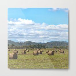 Hay bales on a sunny day Metal Print