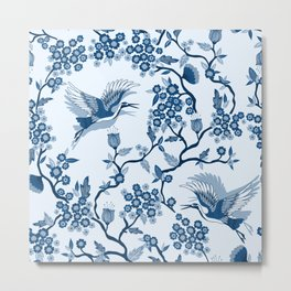 Classi Blue Chinoiserie Metal Print