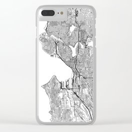 Seattle White Map Clear iPhone Case