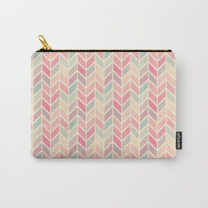 Pastel Chevron Geometric Pattern Carry-All Pouch