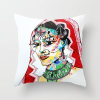 indian Throw Pillows featuring Indian by Cemile Demir Uzunoglu