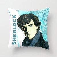 sherlock holmes Throw Pillows featuring Sherlock Holmes by illustratemyphoto