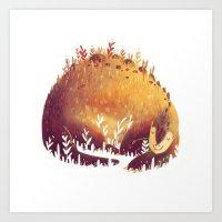 dinosaur Art Prints featuring DINOSAUR by rafael mayani
