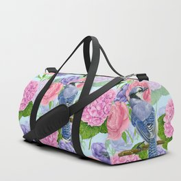 Blue jay and flowers watercolor pattern Duffle Bag