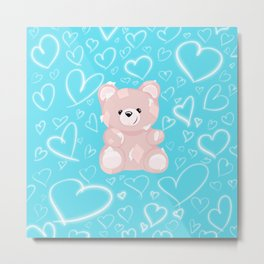 Patched Teddy Love Metal Print