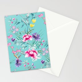 Chinoiserie Decorative Floral Motif Pale Turquoise Stationery Cards