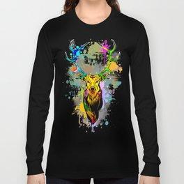 Deer PopArt Dripping Paint Long Sleeve T-shirt